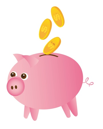 piggy and gold coins isolated over white background. vector Vector