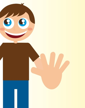child boy with stop hand over beige background. vector Vector