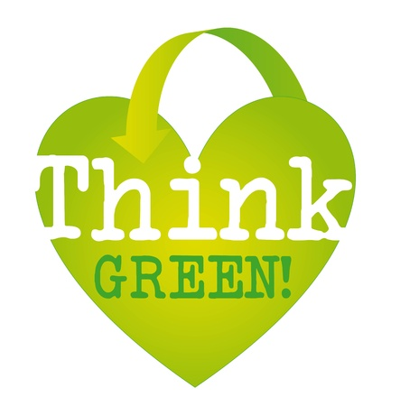think green: think green text over green heart with arrow isolated. vector