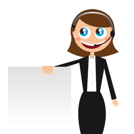 call center woman: recepcionista con copia espacio sobre fondo blanco. vector