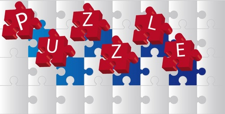 3d red puzzle over gray puzzle. vector illustration Stock Vector - 11309596