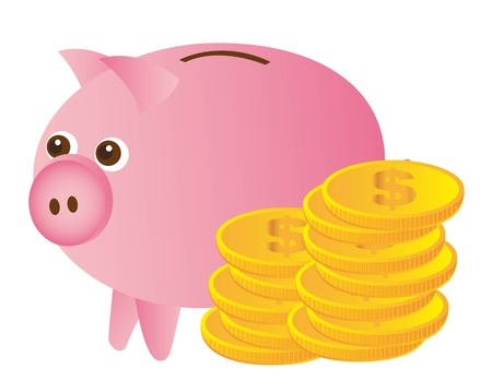 pink piggy with gold coins over white background. vector Vector