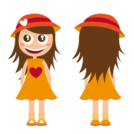 child girl with hat and dress cartoon. vector illustration Stock Vector - 11309474