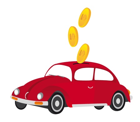 red car with gold coins, piggy. vector illustration Stock Vector - 11309480