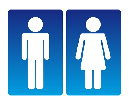 washroom: men and women blue sign, silhouette. vector illustration
