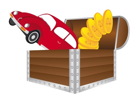 wooden trunk with red car and gold coins isolated. vector Vector