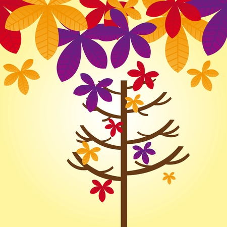 autumn tree with leaves autumn over sky. vector Stock Vector - 11309537