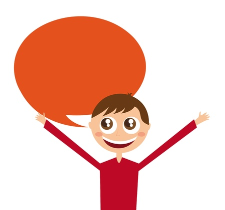 boy cartoon with thought bubble. vector illustration Vector