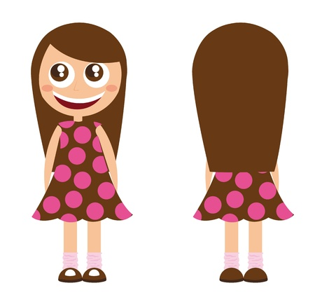 cute girl with long hair: girl cartoon with long hair isolated. vector illustration
