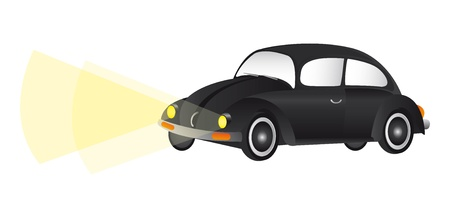 black car with lights over white background. vector Stock Vector - 11309456