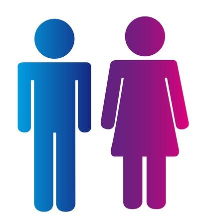 mannen en vrouwen tekenen geà ¯ soleerd op een witte achtergrond. vector