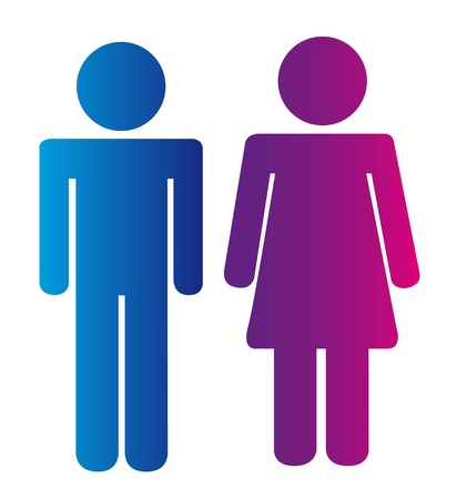 male symbol: men and woman signs isolated over white background. vector Illustration
