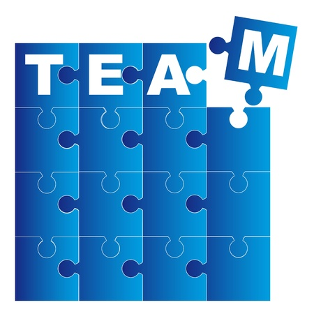 team blue puzzles isolated over white background. vector Stock Vector - 11309548