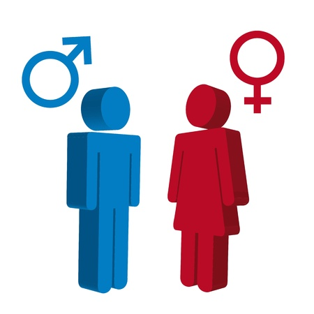men and women sign over white background. vector