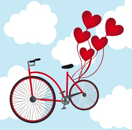 love seat: old bicycle with heart balloons over sky. vector illustration