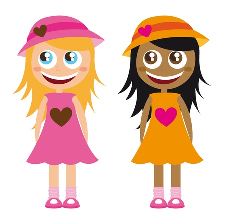 two girls: caucasian and african girls cartoons isolated. vector