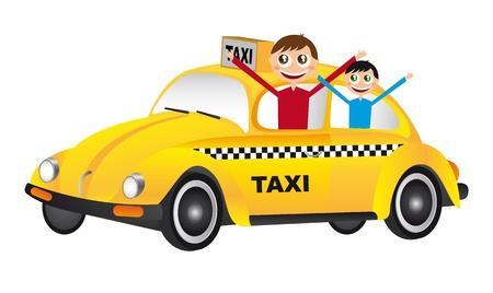 boy cartoon over yellow car over white background. vector Stock Vector - 11309458