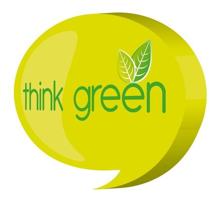 wereldbol groen: groene gedachte bel over witte achtergrond. vector Stock Illustratie