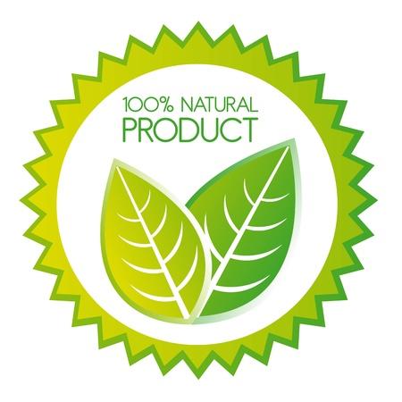 productos naturales: hojas sobre etiqueta aisladas sobre fondo blanco. vector
