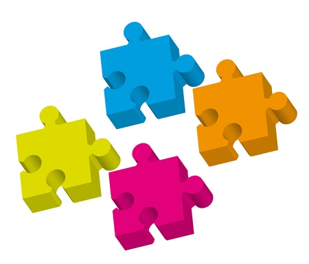 love: 3d colorful puzzle ove white background. vector