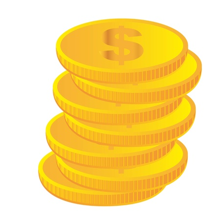 coin bank: gold coins isolated over white background. vector Illustration