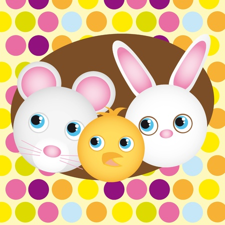 cute animals faces isolated over cute  background. vector Vector