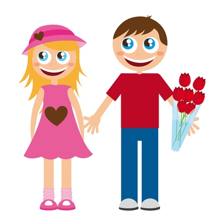 children s art: boy and girls cartoons with roses over white background. vector Illustration