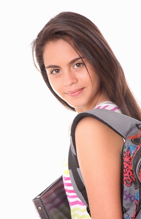 young woman with bag and folders over white background photo