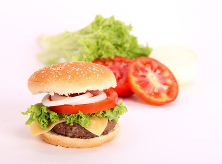 hamburger with vegetable and meat. photography photo