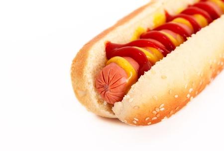 perro comiendo: perro caliente sobre fondo blanco. cerca Foto de archivo