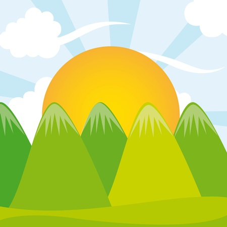 mountains with sun vector illustration. summer landscape Stock Vector - 11516563