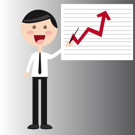 empresario: hombre de negocios con ilustraci�n vectorial gr�fico de negocio