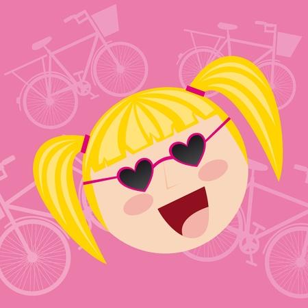 cute girl cartoon: cute girl cartoon over pink background vector illustration