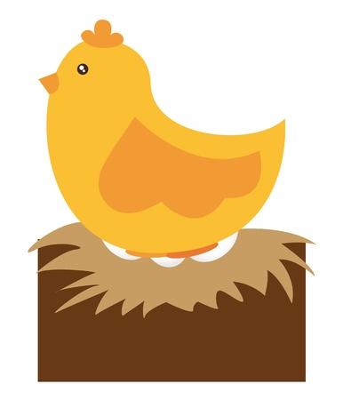 uova d oro: cartoon pollo con le uova oltre vettoriale sfondo bianco Vettoriali