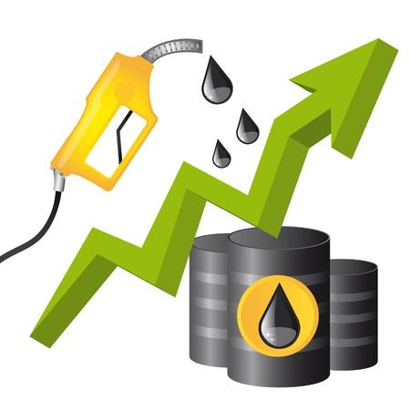 oliedrum: brandstof conceptuele met regendruppel en pijl naar boven. vector Stock Illustratie