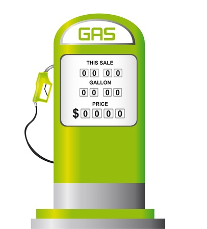 gas pump: green fuel pump isolated over white background. vector Illustration