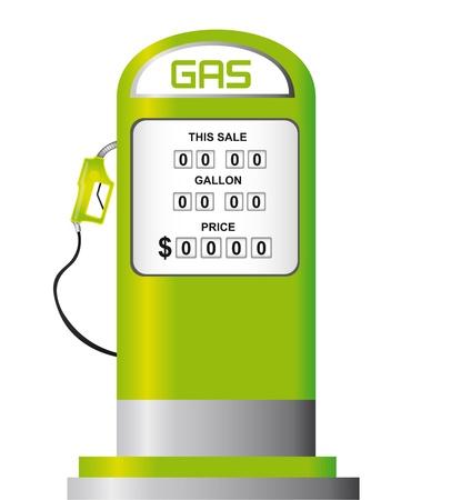 pompe: pompa della benzina verde isolato su sfondo bianco. vettore