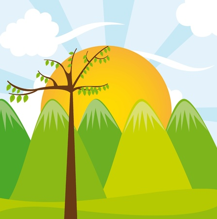 mountains with tree over landscape. vector illustration Stock Vector - 11516567