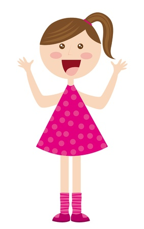 toddler girls: cute girl cartoon with pink dress over white background. vector Illustration