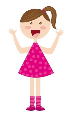 dibujos animados linda chica con vestido de color rosa sobre fondo blanco. vector