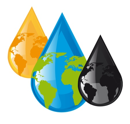 environment issues: water,oil and fuel raindrops with planet over white background. vector