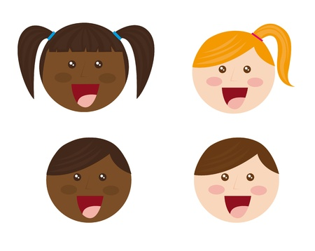 black family smiling: cute faces child cartoons over white background. vector