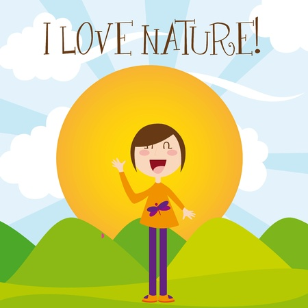 girl cartoon over summer landscape. vector illustration Stock Vector - 11516561