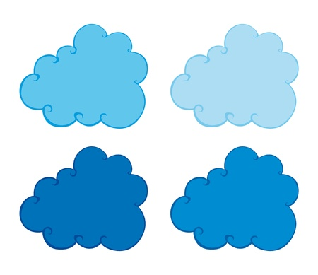 blue clouds over white background. vector illustration Stock Vector - 11516518