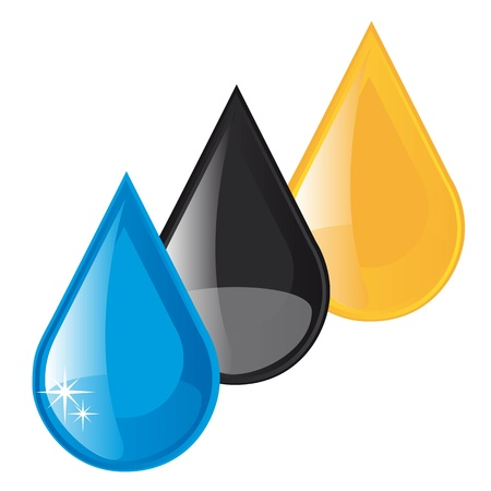 oil,fuel and water raindrops vector illustration over white background Illusztráció