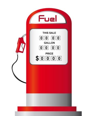 gas pump: red fuel pump isolated over white background. vector Illustration