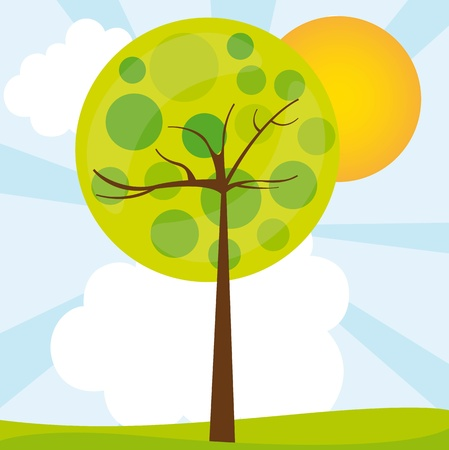 abstract tree over green landscape. vector illustration Vector
