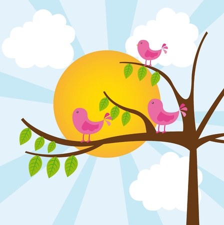 birds with tree over vector illustration. vector illustration Vector