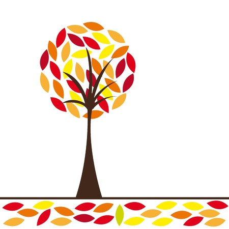 warm colors abstract tree vector illustration. conceptual image Vector