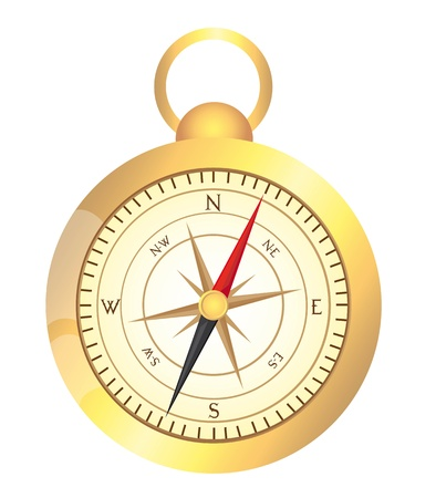 gold compass isolated over white background. vector illustration